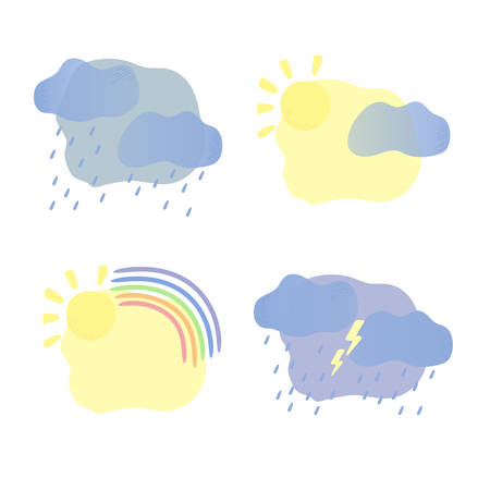 Set of mental states as weather illustrations. Happy, depressed, peaceful and stressed out. Clouds, rain, lightning, sun, rainbow. Mental health concept. Vector illustration, cartoon flat style.