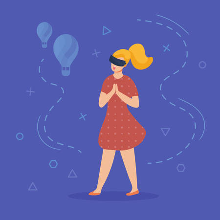 Virtual and augmented reality character. Girl in virtual glasses admires the view of air balloons. Abstract vr world around. Entertainment concept. Vector illustration, flat style.