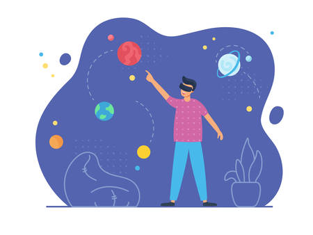 VR education and augmented reality scene with male character. Man in his room wears virtual glasses and looks at the virtual image of space with planets and stars. Vector illustration, flat style.