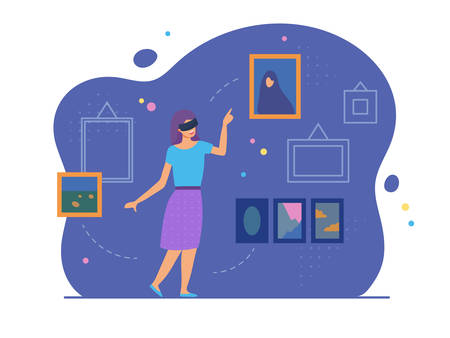 VR education, entertainment and augmented reality scene with female character. Woman in her room wears virtual glasses and looks at the virtual art gallery or museum. Vector illustration, flat style.