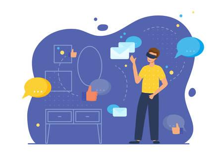 Scène de communication et de divertissement VR avec personnage masculin. L'homme dans sa chambre porte des lunettes virtuelles et regarde les symboles de messager, les courriels et les goûts. Illustration vectorielle, style plat.