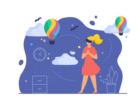 VR travel and entertainment scene with female character. Woman in her room wears virtual glasses and admires the view of hot air balloons show. Vector illustration, flat style.