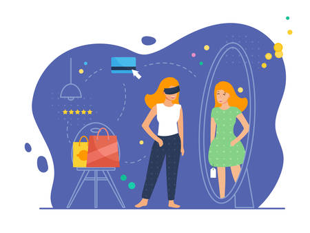 Virtual shopping scene with female character. Woman in her room wears virtual glasses and admires her look in the mirror with new dress. Vector illustration, flat style.
