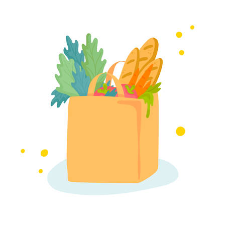 Vector illustration of paper shopping bag with groceries. Food like carrot, tomatoes, greenery and baguette bread inside. No plastic bag pollution concept. Cartoon flat style.