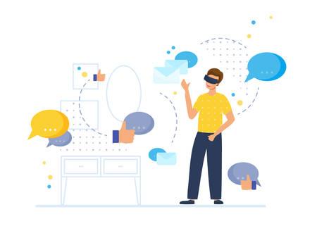Escena de comunicación y entretenimiento VR con personaje masculino. El hombre en su habitación usa lentes virtuales y mira los símbolos de mensajería, correos electrónicos y me gusta. Ilustración de vector de estilo plano.
