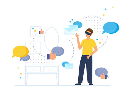 VR communication and entertainment scene with male character. Man in his room wears virtual glasses and looks at the messenger symbols, emails and likes. Vector illustration, flat style.
