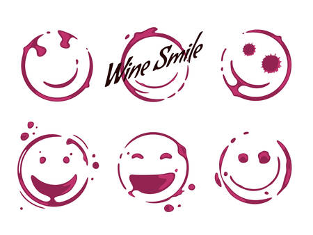 Collection of wine glass round stains shaping smiles and smiling faces. Spilled wine logo concept. Vector drops and splashes on white background.