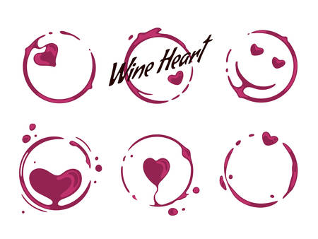 Collection of wine glass round stains shaping hearts and smiling faces. Good mood and wine love concept. Vector spilled drops and splashes on white background.