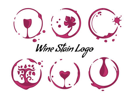 Collection of wine cup round stains shaping symbols of heart, grapevine, glass, drop and vine leaf. Logo for cafe, wine house or restaurant. Vector drops and splashes on white.