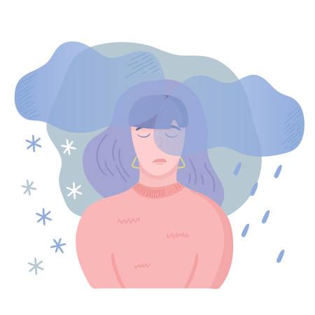 Ilustración de enfermedad mental. Niña con trastorno estacional afectado, sintiéndose mal en la misma época cada año con síntomas depresivos y poca energía.