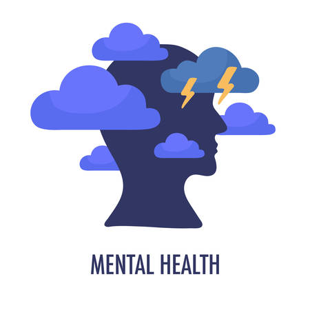 Mental health concept illustration. Head silhouette icon with clouds and lightning.  Psychology and psychiatry sign  isolated on white