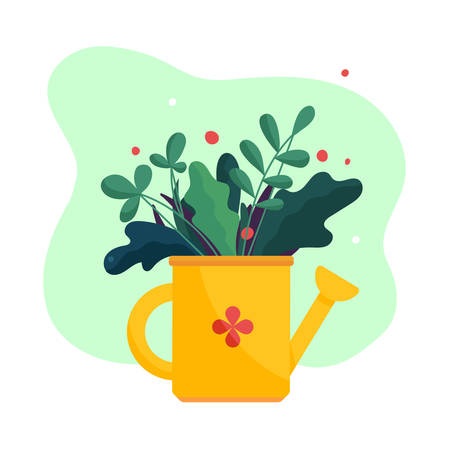 Watering can. Outdoor gardening bouquet. Modern abstract simple flat art style.