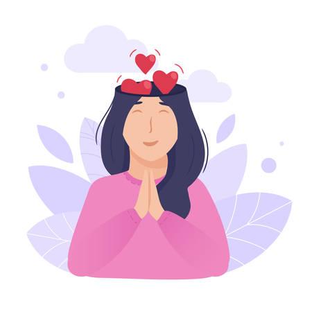 À l'intérieur du concept de tête de femme. Esprit paisible et aimant. Les cœurs sortent du cerveau comme métaphore de l'amour et du bonheur.
