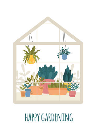 Greenhouse with potted garden plants vector illustration, cute Scandinavian Hygge style.Glass green house seasonal greeting card, Happy gardening.Conservatory with growing plants in pots and planters.