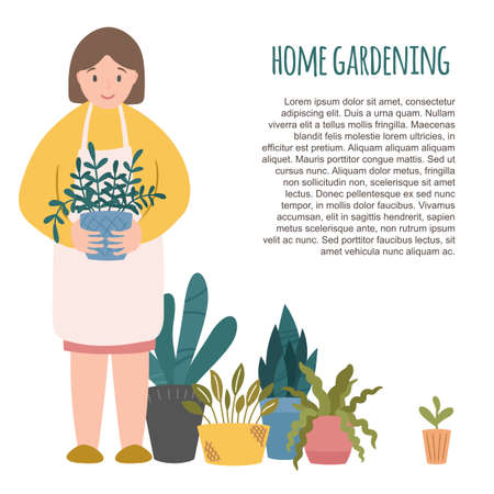 Home gardening character, smiling woman holding flower pot, potted indoor plants standing by. Text template. Vector illustration clipart, cute cartoon scandinavian style.