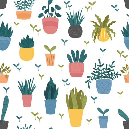 Indoor home plants in ceramic pots seamless pattern  background, cute Scandinavian flat cartoon style. Potted flowers and colorful design.
