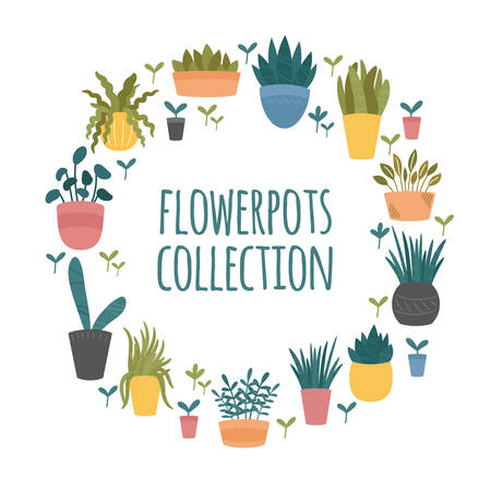 Flowerpots collection. Set of indoor and outdoor decorative garden potted plants. Hand drawn cartoon, Scandinavian Hygge style. Round template border on white background Illusztráció