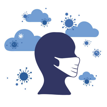 Concept of coronavirus quarantine and mask protection. Covid infection in the air, airborne transmission, male wearing white medical face mask. Vector illustration, monochrome flat style.