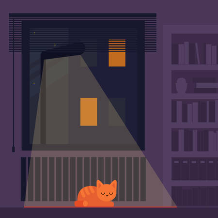 Ginger cat sleeping in the room at night, lying on the floor. A lantern shines through the window. Cat's peaceful dreaming. Adopt a pet concept. Vector illustration.