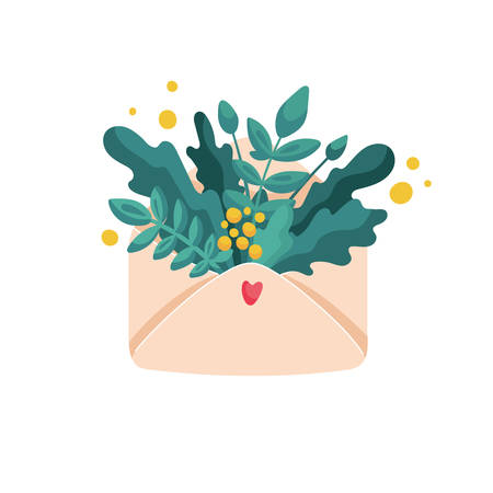 Bouquet of lush plants and yellow flowers in envelope with tiny heart on it. Flat cartoon vector illustration for romantic or greeting card.