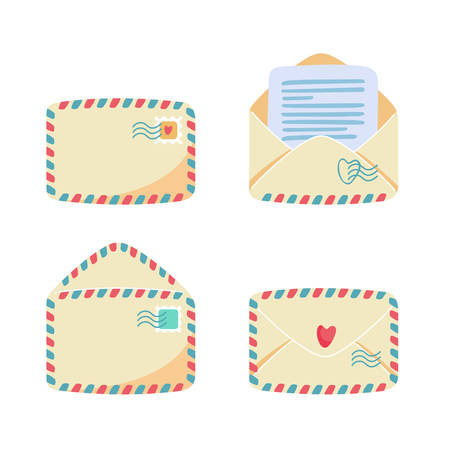 Collection of paper envelopes with air mail stripes. Open, closed, front, back view. Postage stamps and postmarks on it, letter or note inside. Postal service concept. Flat cartoon vector illustration