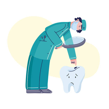 Dentist in medical mask looking at bad tooth with caries. Stomatologist character at work gets a close look at tooth hole. Dental doctor personage. Vector illustration, cartoon style