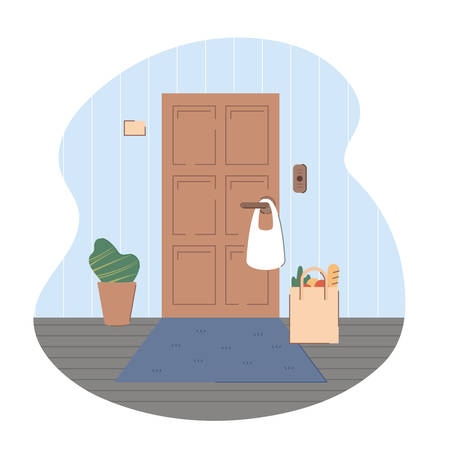 Contactless delivery. Groceries in bag left at doormat. Apartment entrance door with package. Safe shopping to prevent the spread of the corona virus concept. Vector illustration, flat style