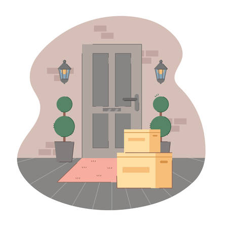 Contactless delivery. Some purchases in cardboard left at doormat. Apartment entrance door with package. Safe shopping to prevent the spread of the corona virus concept. Vector illustration flat style