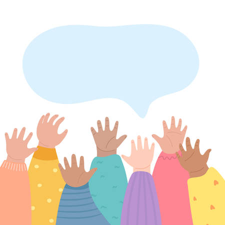 Kids raising hands up. Many children arms together. Hands raised up, diversity and friendship concept. Vector illustration cartoon style