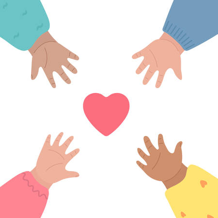 Kids hands reach out for heart and to each other. Charity, child care, community support and volunteer donation concept. Vector illustration, cartoon style Vector Illustratie