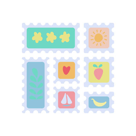 Set of postage stamps for envelopes, letters and postcards, abstract themed with flowers, sun, berry, sailboat, heart and banana. Square and rectangular. Cute flat cartoon vector illustration.