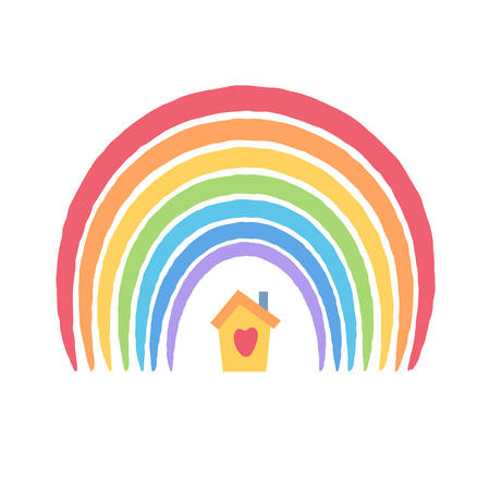 Child drawing stylisation, rainbow and cute little house under it. Stay home stay safe concept, rainbow as pandemic hope symbol. Kids at quarantine and isolation. Vector illustration, cartoon style