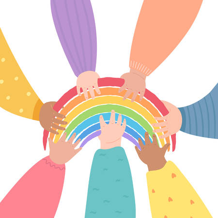 Diverse children holding the rainbow. Friendship and support concept. Rainbow as symbol of hope and compassion. Stay at home, quarantine for coronavirus prevention.Vector illustration on white background