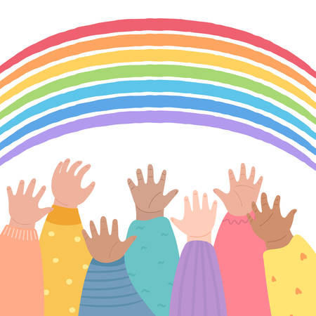 Kids raising hands up toward the rainbow. Many children arms together. Hands raised up, diversity and friendship concept. Stay home stay safe, hope symbol. Vector illustration cartoon style