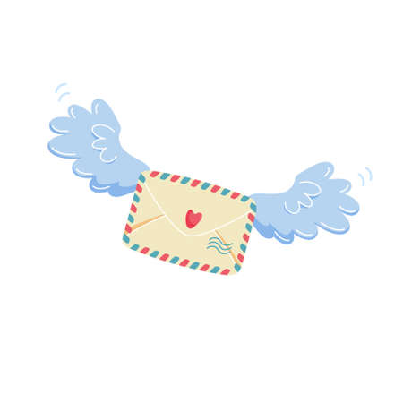 Romantic mail concept. Closed envelope with heart stamp flying on blue angel wings to addressee. Banco de Imagens
