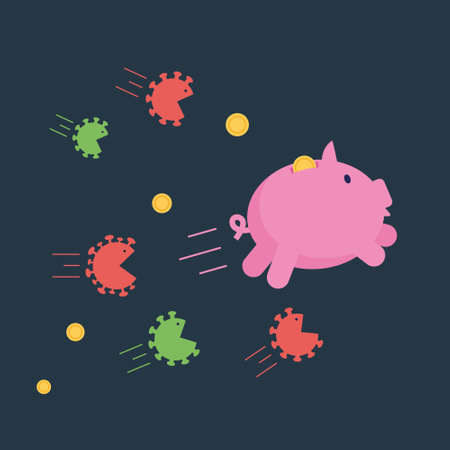 Angry coronavirus cells chase after piggy bank trying to brake and eat it. Coronavirus economy crush financial crisis