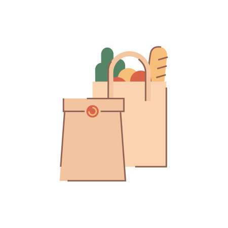 Grocery and fast food delivery paper bags. Brown paper bag with baguette and veggies Banco de Imagens