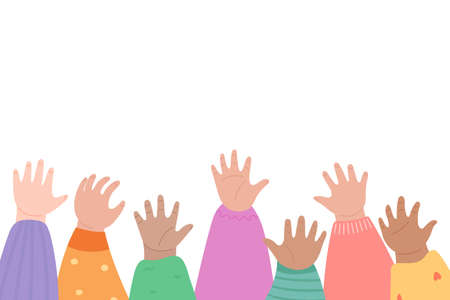 Kids raising hands up. Many children arms together.