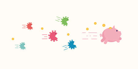 Angry coronavirus cells chase after piggy bank trying to brake and eat it. Coronavirus economy crush