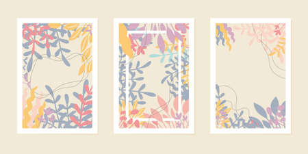 Set of creative universal art cards or posters. Hand drawn leaves and flowers, contemporary modern style. Banco de Imagens