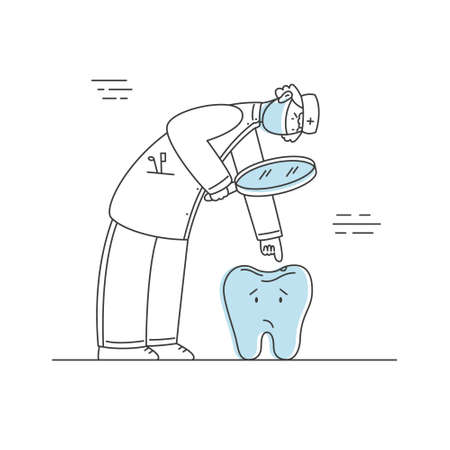 Dentist in medical mask looking at bad tooth with caries. Stomatologist character at work gets a close look at tooth hole. Dental doctor personage. Vector illustration, line style on white background.