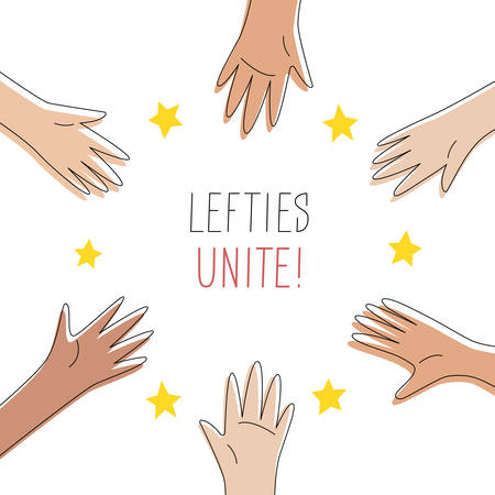 Lefties unite concept banner. August 13, International Left-handers Day celebration. Left hands organised in a circle, help and support each other. Event card, cute line style. Vector illustration.