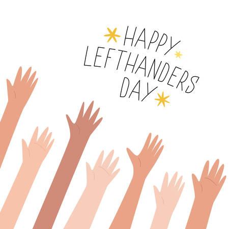 Lefties unite concept banner. August 13, International Lefthanders Day celebration. Left hands raised up together, help and support each other. Event card, cute line style. Vector illustration.
