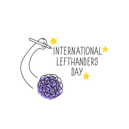Happy Left-handers Day. August 13, International Lefthanders Day celebration. Left hand holds a pen and writes. Vector illustration for left-handers resources like websites, stores etc.