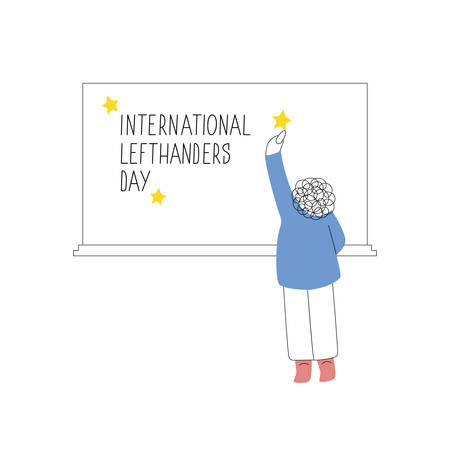 Happy Left-handers Day. August 13, International Lefthanders Day. Support your lefty friend. Left-handed boy writes on chalkboard. Vector illustration, line style.