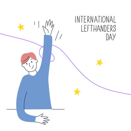 August 13, International Lefthanders Day. Happy Left-handers Day. Support your lefty friend. A sitting boy rises left hand proudly. Vector illustration, modern line style.