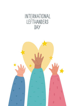 Happy Left-handers Day. August 13, International Lefthanders Day greeting card. Support your lefty friend. Kid's left hands raised up together. Vector illustration, line style. Ilustração