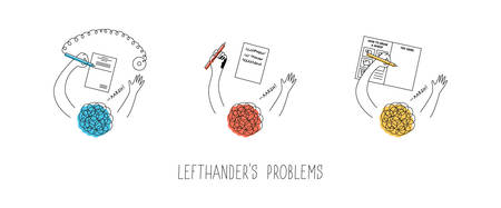 Left handed people problems. Using pen with chain in a bank attached to the right, smudging the ink, drawing in step-by-step-tutorial books. International lefthanders day. Vector illustration.