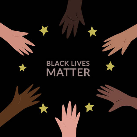 Hands colored from white to black with Black lives matter slogan, organized in a circle. Anti racism and racial equality and tolerance banner. Vector illustration, social media template on dark background.