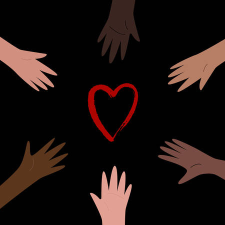 Hands colored from white to black organized in a circle, reaching for red heart. Anti racism, racial equality, different colors same blood concept. Vector illustration, social media template on dark background.